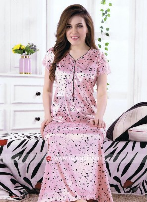 Pink Color Satin Nighty