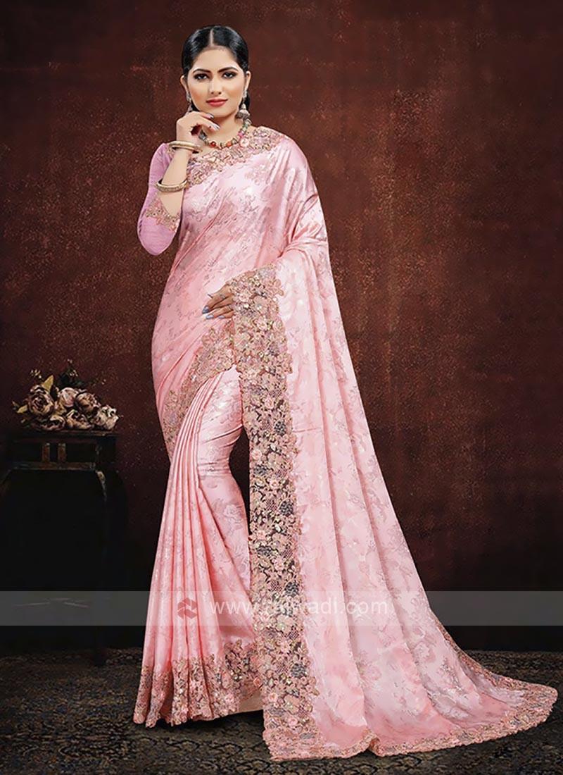 Pink Color Satin Silk Saree