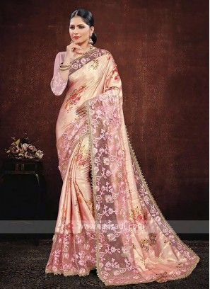 Pink Color Satin Silk Saree