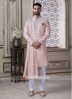 Pink Color Sherwani With Dupatta