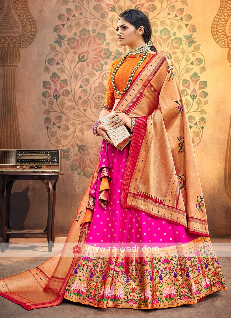 Pink And Orange Color Silk Lehenga Choli