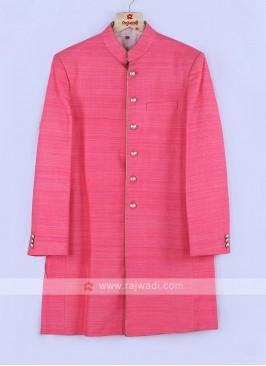 Pink Color Silk Mens Indo-Western