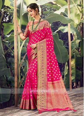 Pink Color Weaving Work Saree