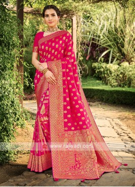 Pink Color Weaving Work Saree