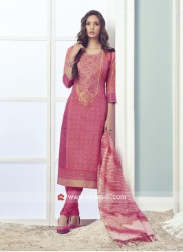 Pink Cotton Silk Churidar Suit
