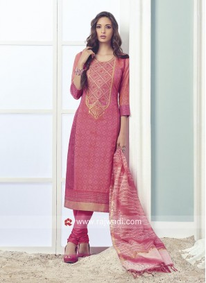 Pink Cotton Silk Churidar Suit
