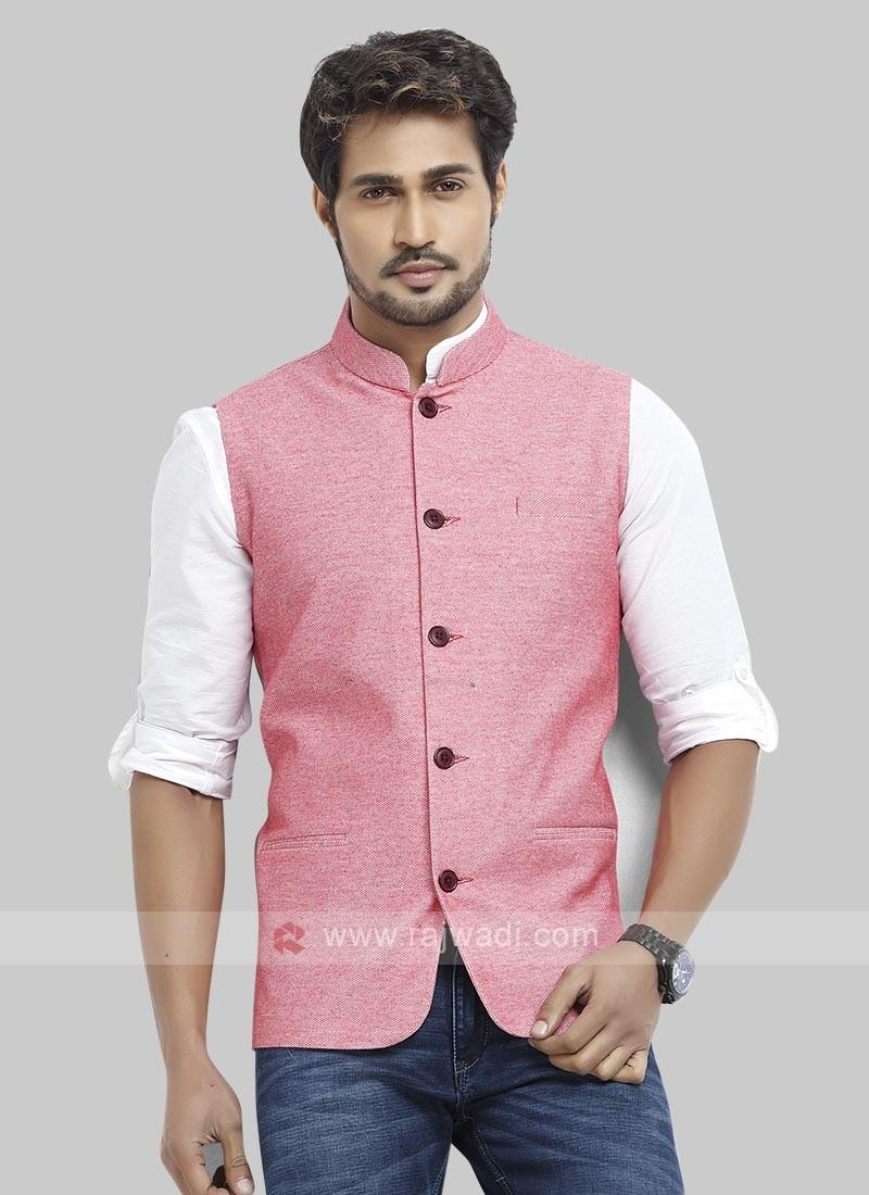 Cotton Silk Pink Nehru Jacket