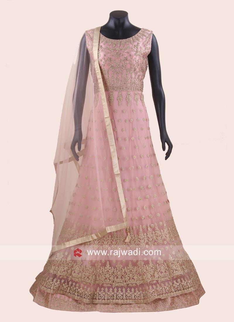 Pink Double Layered Net Anarkali Dress