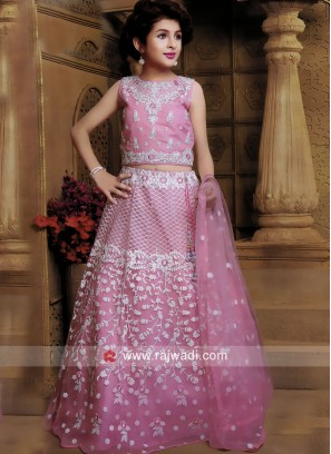 Pink Embroidered Kids Lehenga Set