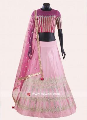 Pink Embroidered Lehenga Set with Dupatta