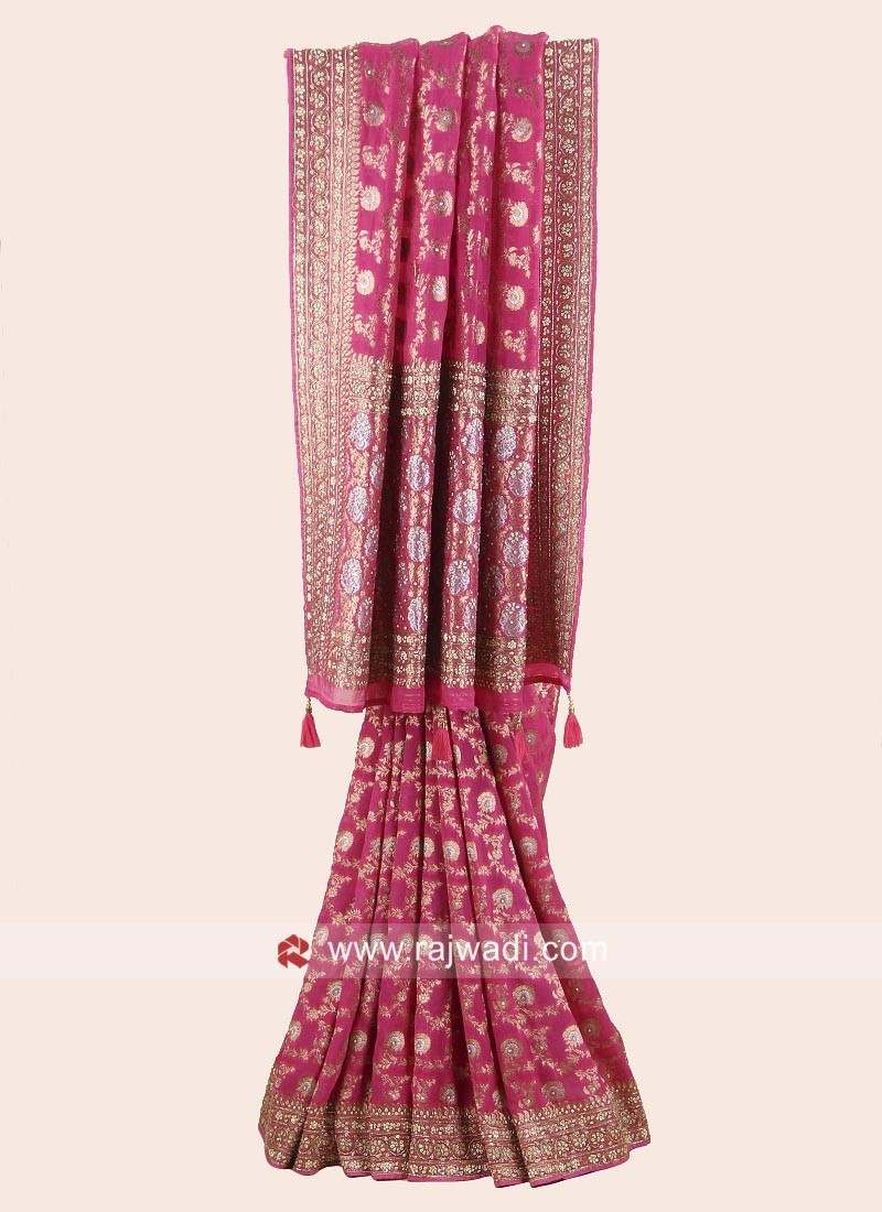 Pink Embroidered Reception Saree