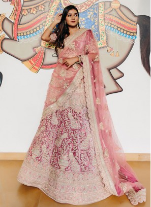 Pink Embroidered Velvet Lehenga Choli