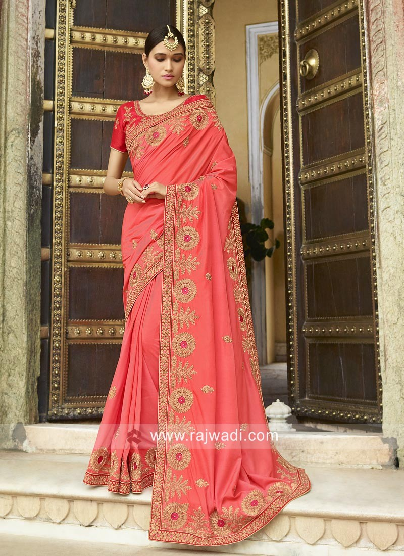 Pink Embroidered Wedding Saree