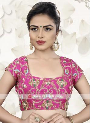 Pink Embroidery Ready Choli