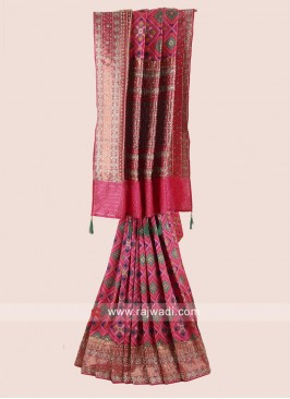 Pink Exclusive Saree with Embroidery Work