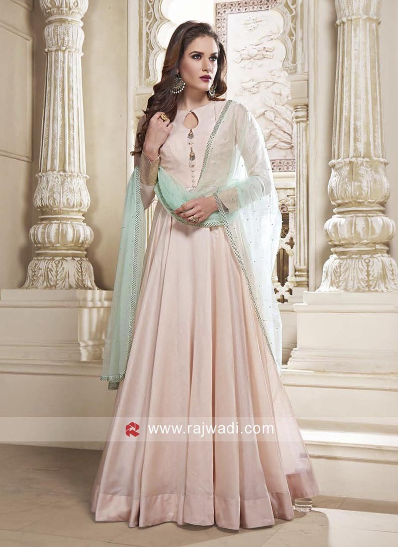 2a95aff941 Pink Floor Length Cotton Silk Anarkali Dress. Hover to zoom