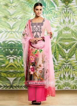Pink Flower Print Salwar Suit