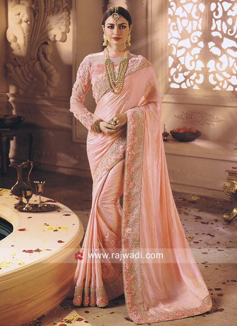 Pink Flower Work Saree