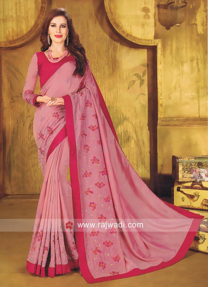 Pink Flower Work Saree with Blouse