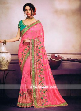 Pink Flower Work Sari