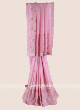 Pink Flower Work Satin Silk Saree