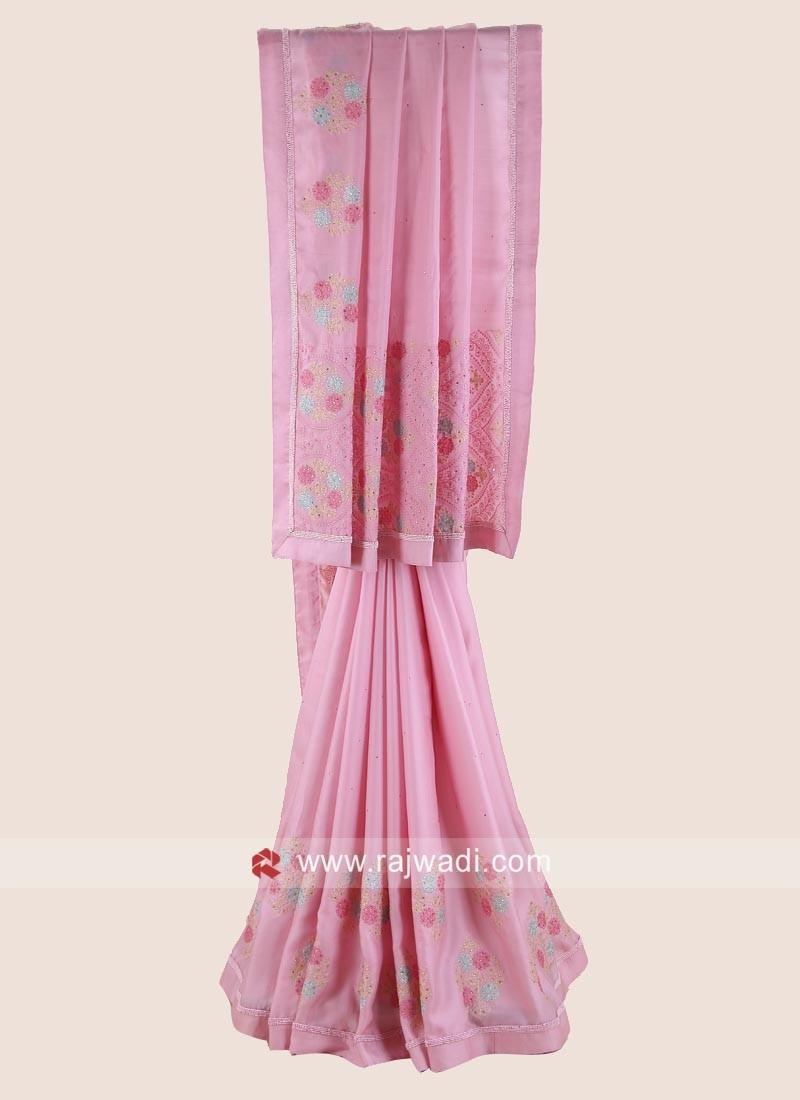 Pink Flower Work Satin Silk Saree