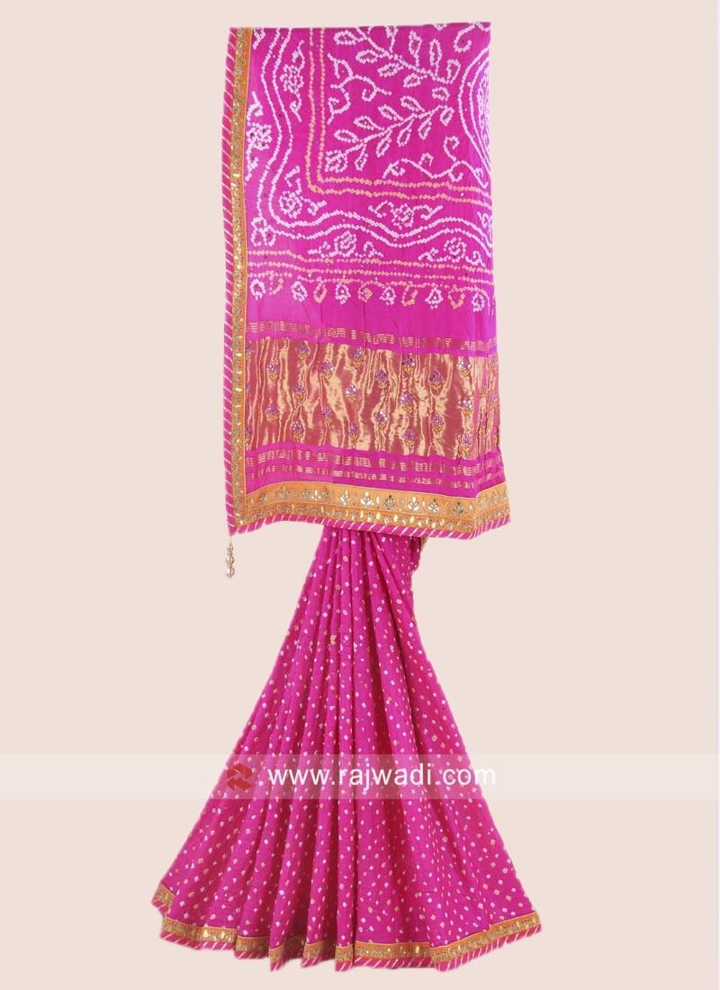 c9de5f63e2 Pink Gajji Silk Bandhani Saree. Hover to zoom