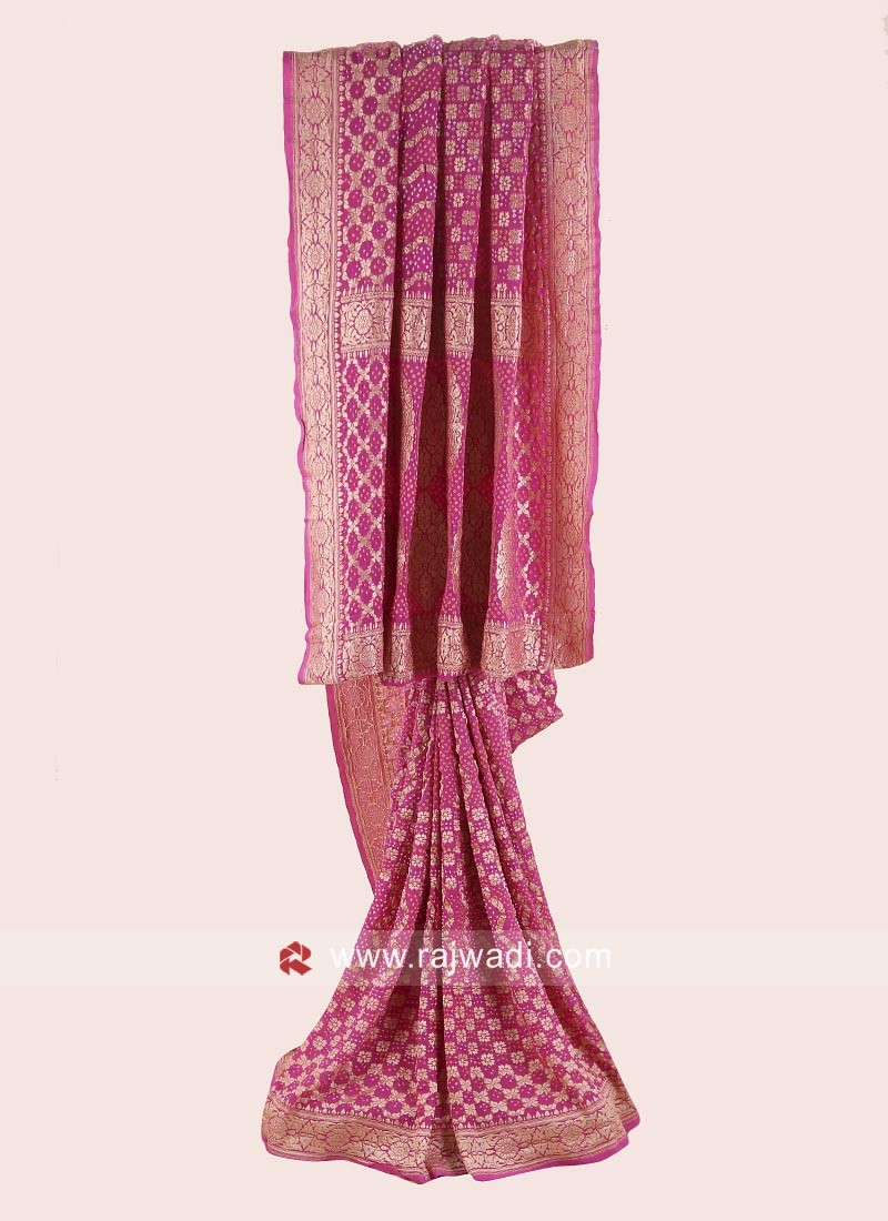 Pink Georgette Chiffon Bandhani Saree