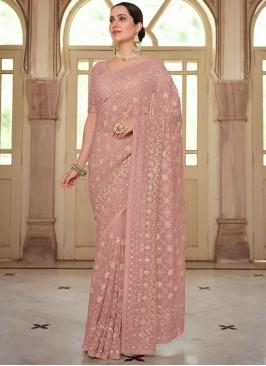 Pink Georgette Reception Trendy Saree