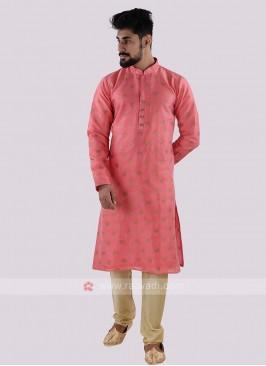 Pink & Golden Kurta Pajama