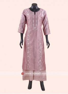 Pink Gota Patti Work Double Layered Kurti