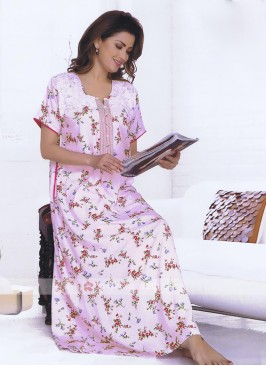 Pink Half Selvees Printed Nighty