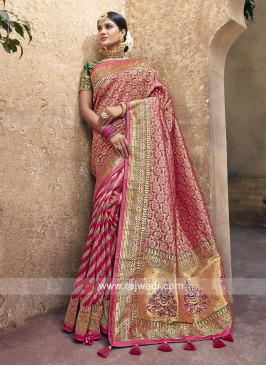 Pink Heavy Embroidered Saree