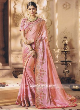 Pink Heavy Work Saree