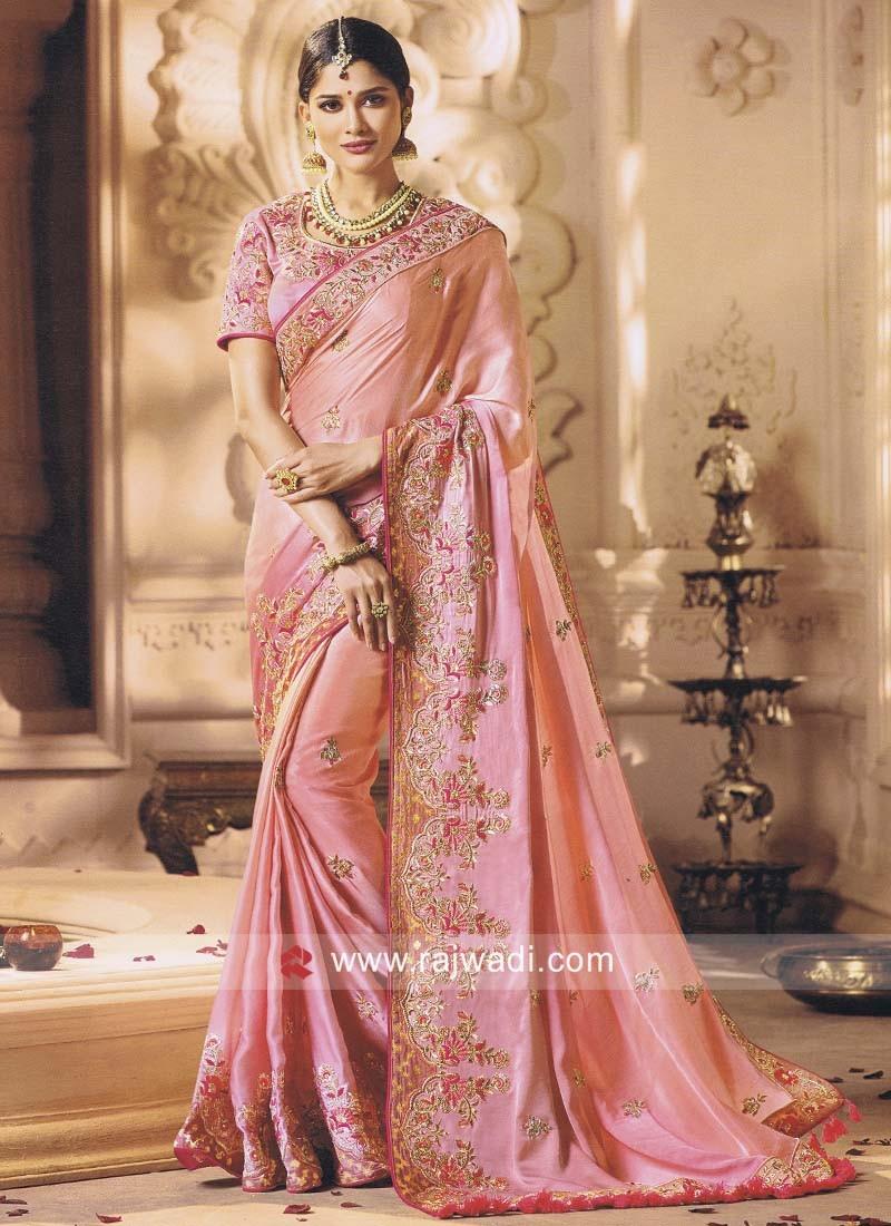 Pink Heavy Work Saree