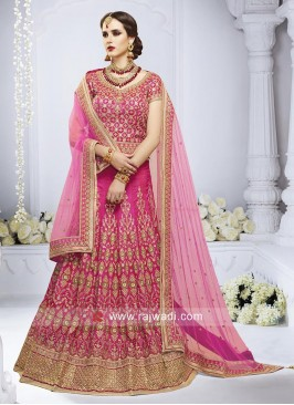 Pink Heavy Work Wedding Lehenga