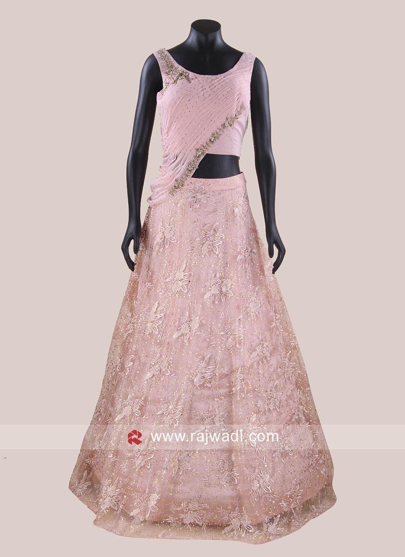 Pink Indo Western Choli Suit