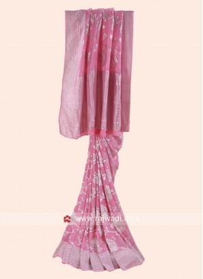 Pink Khadi Chiffon Saree