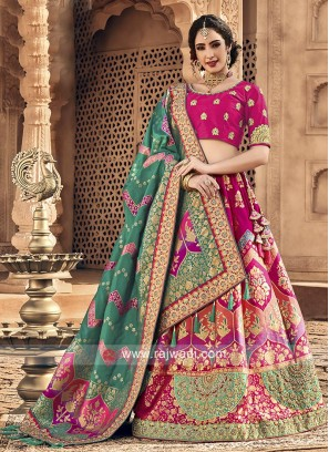 Pink lehenga choli with dark green dupatta
