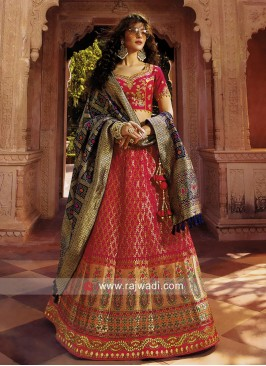 Pink Lehenga Choli with Navy Blue Dupatta