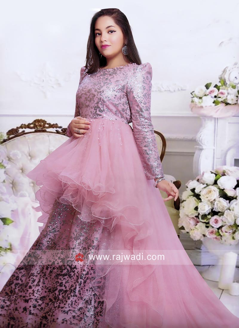 Pink Long Trail Layered Gown for Kids