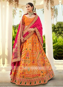Rani & Orange Silk Lehenga Choli