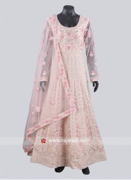 Pink Net Fabric Heavy Anarkali Suit