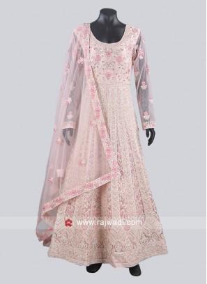 Pink Net Fabric Heavy Anarkali Suit