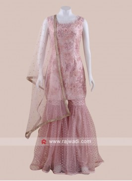Pink Net Heavy Gharara Suit