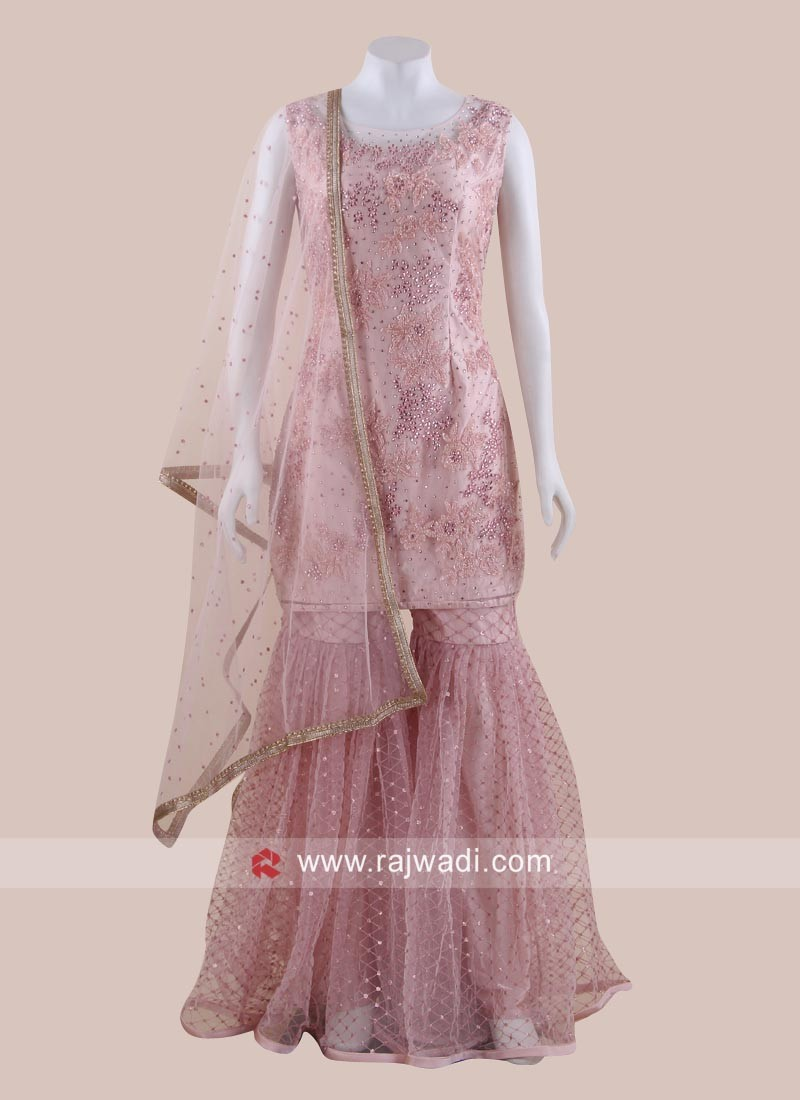 Pink Net Heavy Gharara Suit for Eid