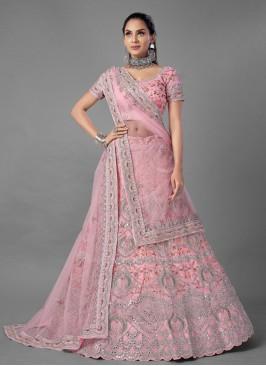 Pink Net Mehndi Lehenga Choli