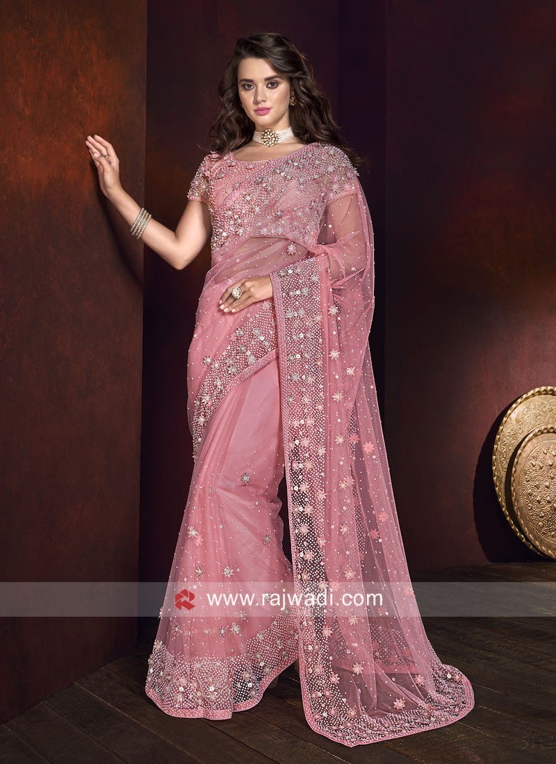 Pink Net Saree with Blouse