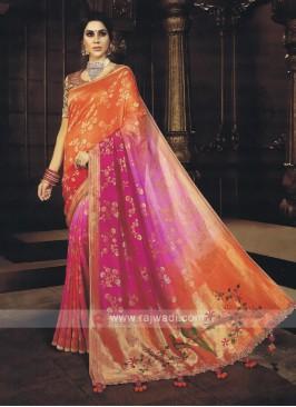 Pink & Orange Shaded Saree
