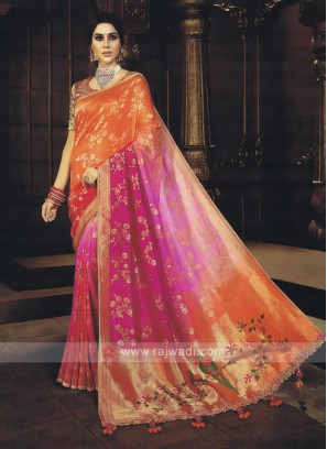 Pink & Orange Shaded Saree